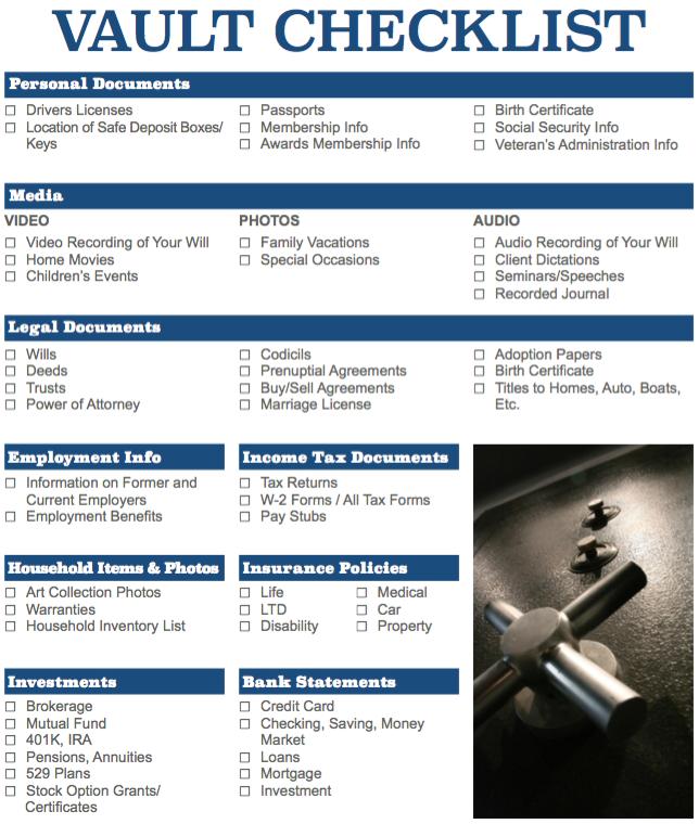 Vault Checklist