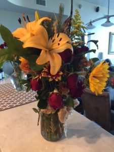 A vase of the many flowers Rachael received during her treatment time