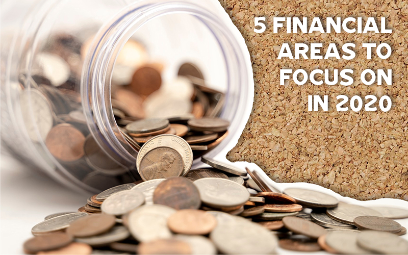 tipped over jar of coins next to 5 Financial Areas to Focus on in 2020