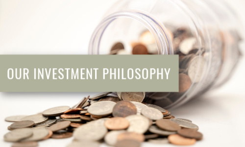 tipped over jar of coins with our investment philosophy written over top