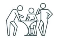 business people discussing on either side of a table icon on transparent background