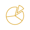 pie chart icon on transparent background
