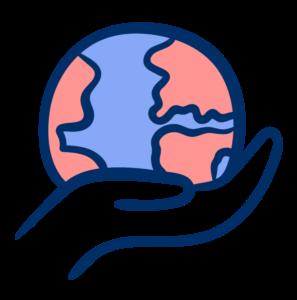 cartoon hand holding earth