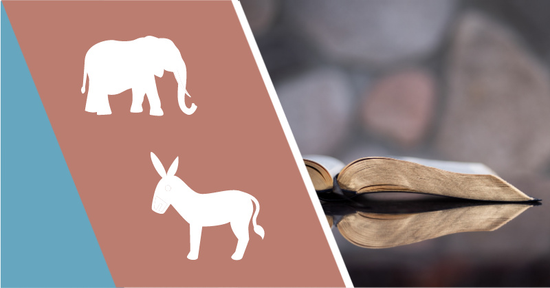 republican elephant and democrat donkey icons next to open Bible