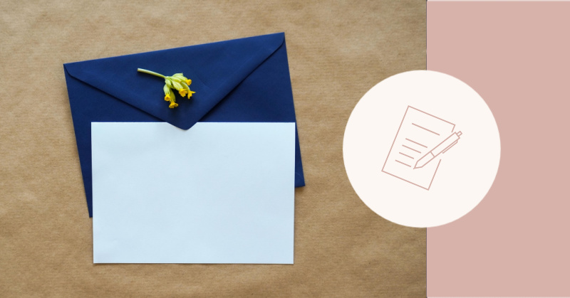 blank paper and envelope with pen and paper icon