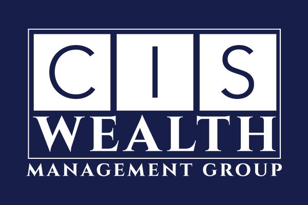 White CIS Wealth Logo on a Blue Background