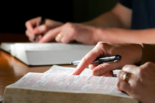 close up of hand writing in Bible and taking notes