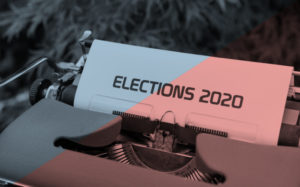 Typewriter with Elections 2020 typed out on paper