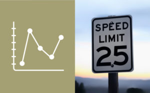 Graph chart icon next to 25mph speed limit sign